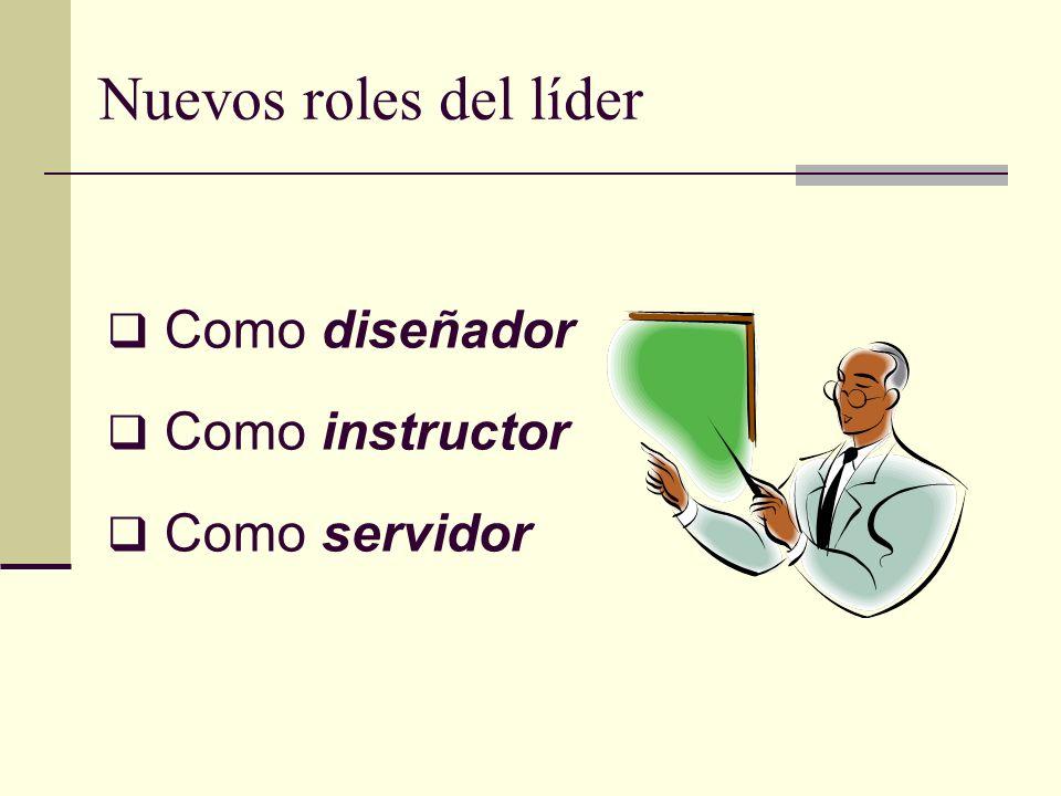 Nuevos roles del líder Como diseñador Como instructor Como servidor