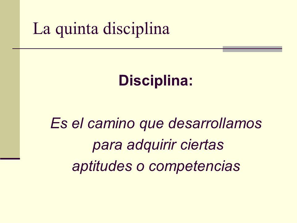 La quinta disciplina Disciplina: Es el camino que desarrollamos