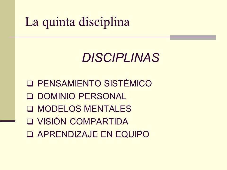 La quinta disciplina DISCIPLINAS PENSAMIENTO SISTÉMICO