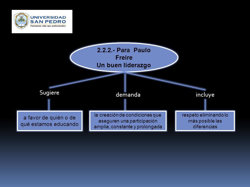2.2.2.- Para Paulo Freire Un buen liderazgo