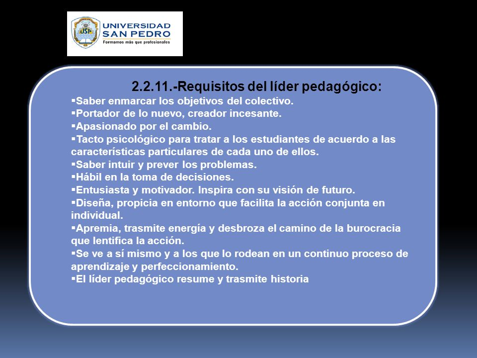 2.2.11.-Requisitos del líder pedagógico: