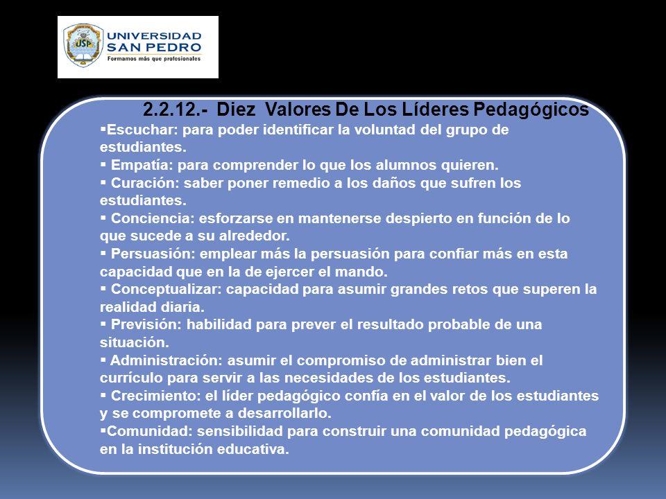 2.2.12.- Diez Valores De Los Líderes Pedagógicos