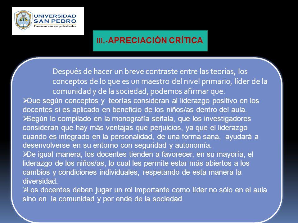 III.-APRECIACIÓN CRÍTICA