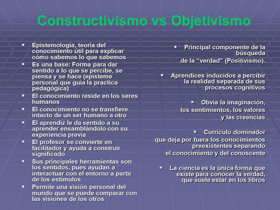 Constructivismo vs Objetivismo