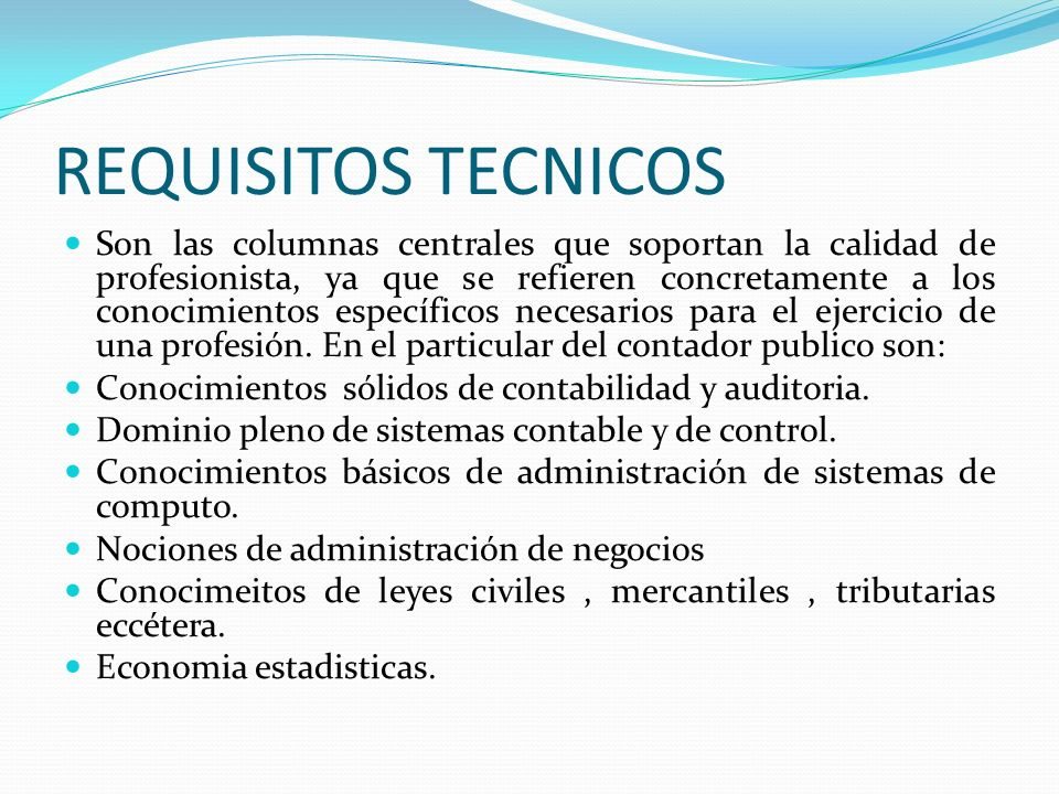 REQUISITOS TECNICOS