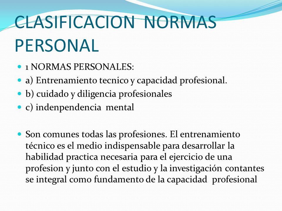 CLASIFICACION NORMAS PERSONAL