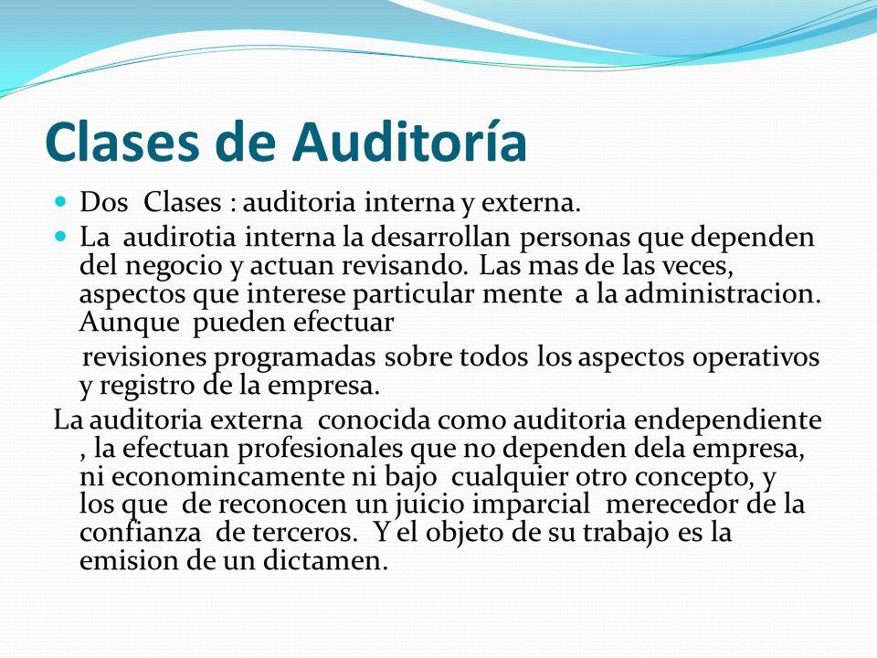 Clases de Auditoría Dos Clases : auditoria interna y externa.