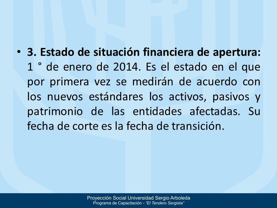 3. Estado de situación financiera de apertura: 1 ° de enero de 2014