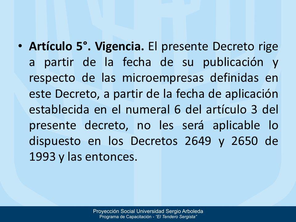 Artículo 5°.Vigencia.