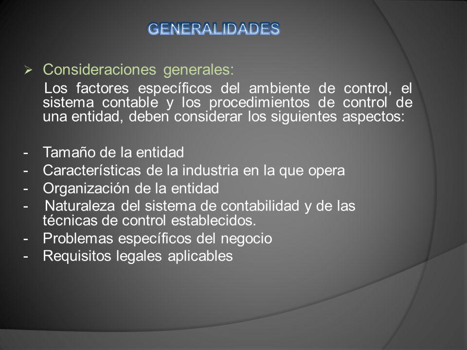 Consideraciones generales: