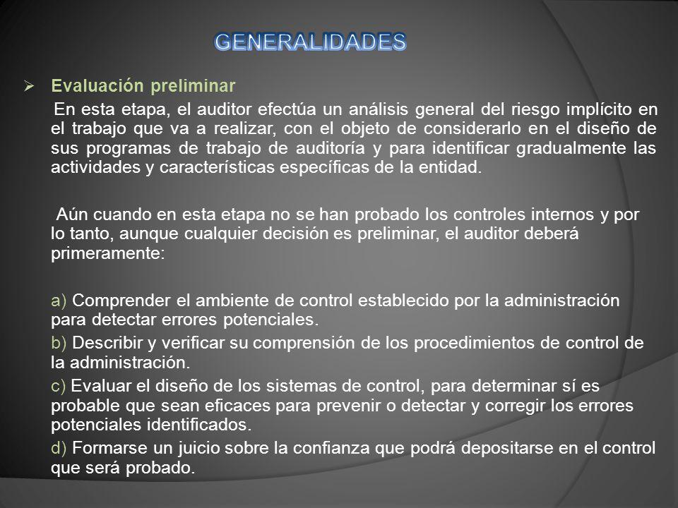 GENERALIDADES Evaluación preliminar