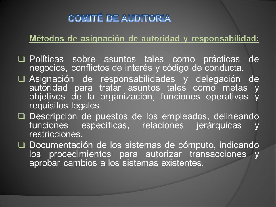 COMITÉ DE AUDITORIA Métodos de asignación de autoridad y responsabilidad: