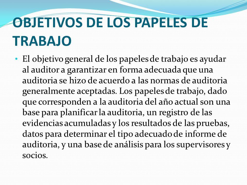 OBJETIVOS DE LOS PAPELES DE TRABAJO