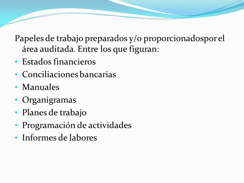 Papeles de trabajo preparados y/o proporcionadospor el área auditada