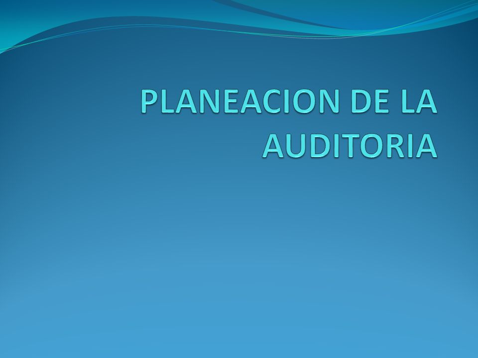 PLANEACION DE LA AUDITORIA