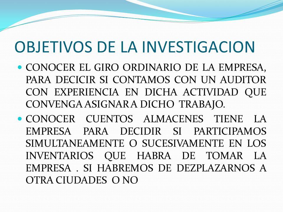 OBJETIVOS DE LA INVESTIGACION