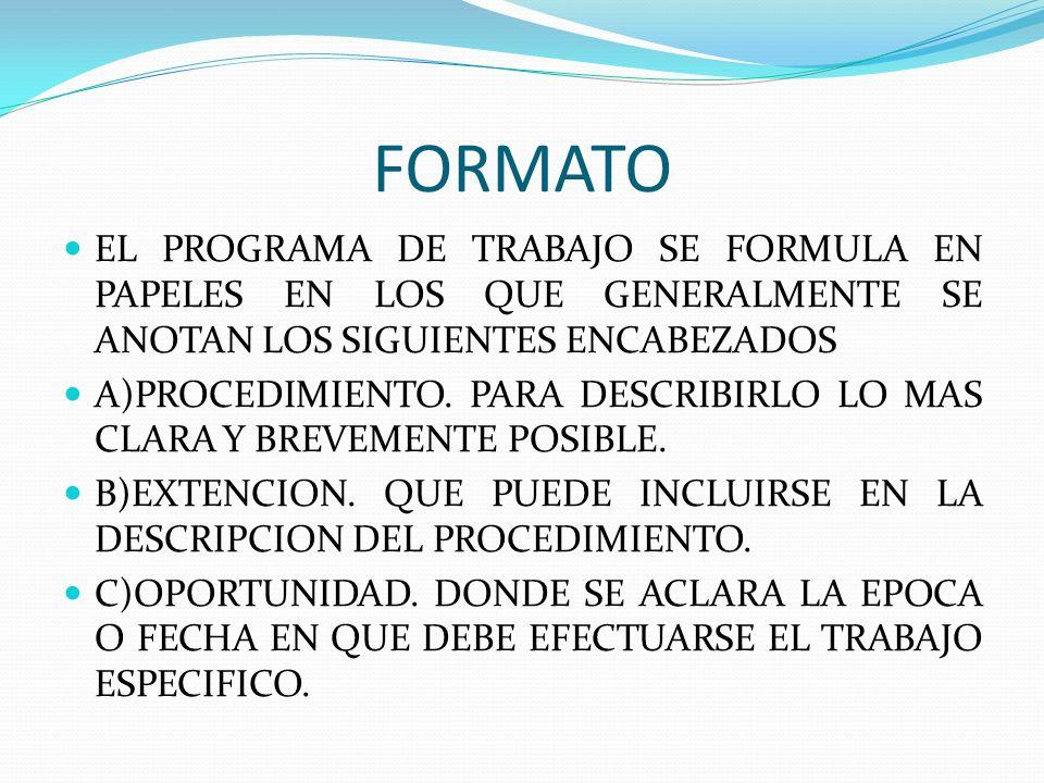 FORMATO EL PROGRAMA DE TRABAJO SE FORMULA EN PAPELES EN LOS QUE GENERALMENTE SE ANOTAN LOS SIGUIENTES ENCABEZADOS.