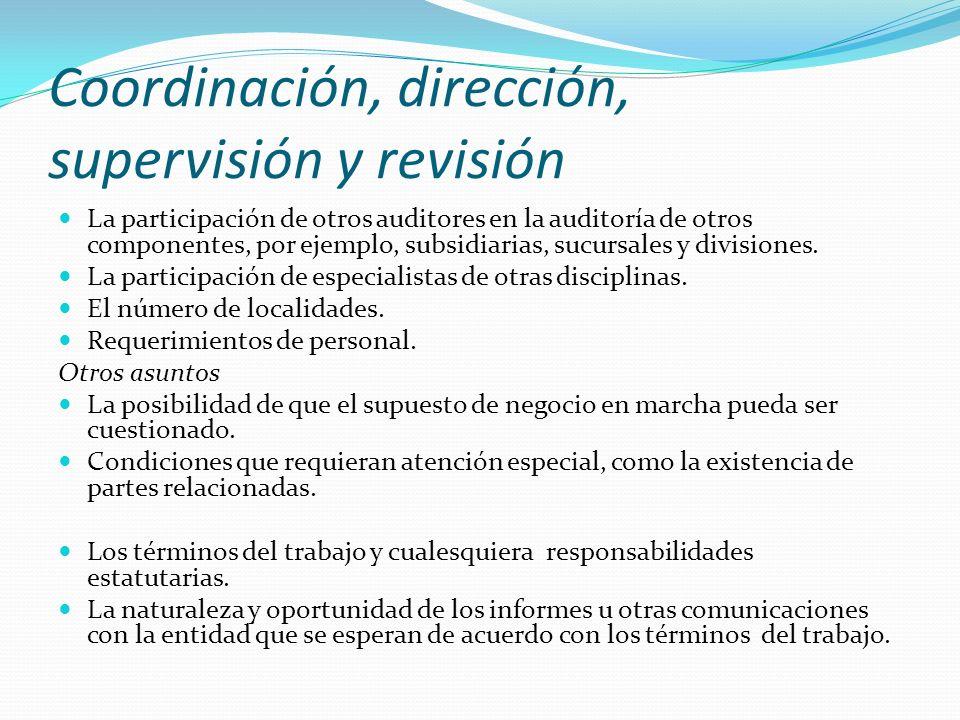 Coordinación, dirección, supervisión y revisión