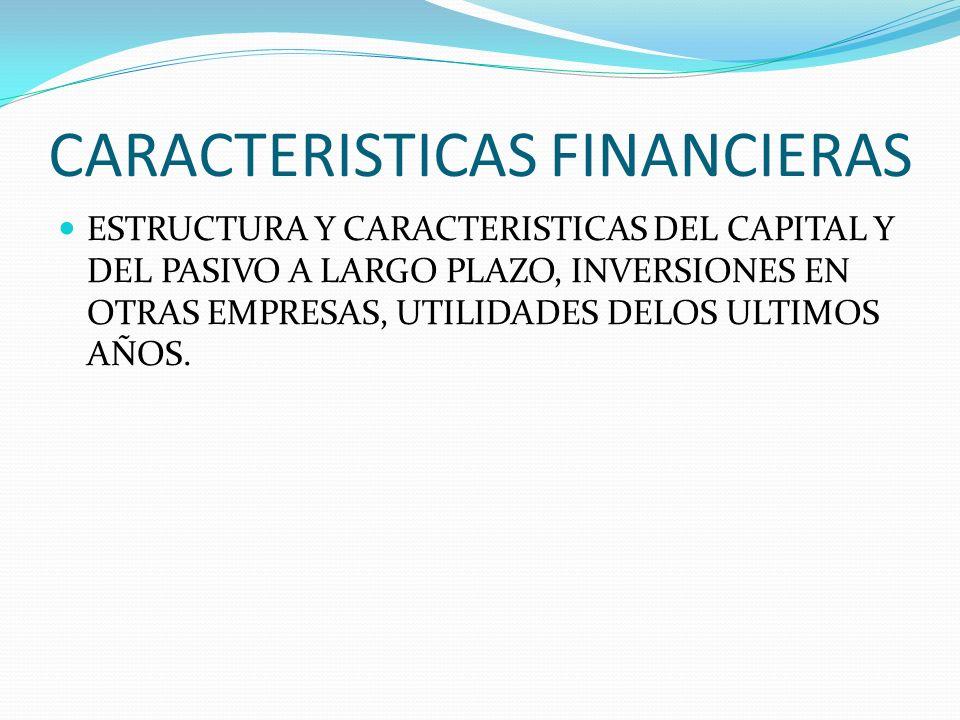 CARACTERISTICAS FINANCIERAS