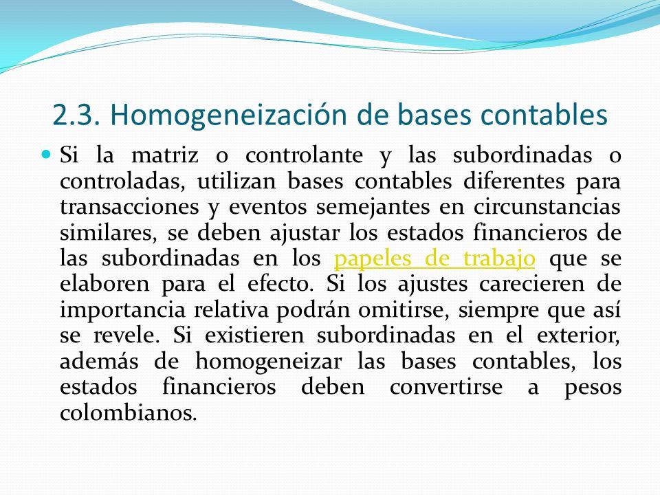 2.3. Homogeneización de bases contables