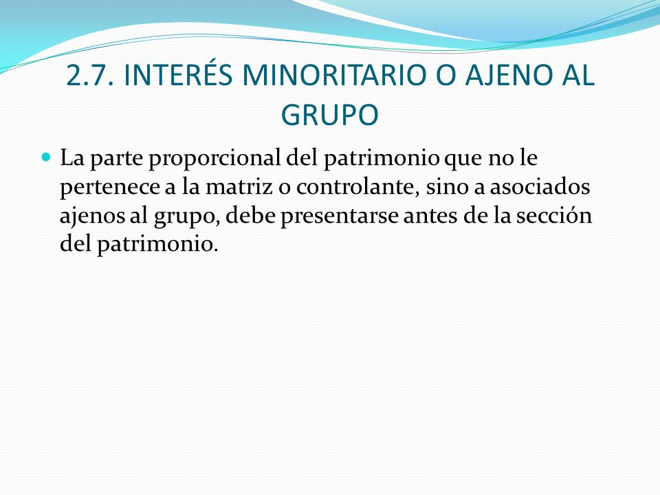 2.7. INTERÉS MINORITARIO O AJENO AL GRUPO