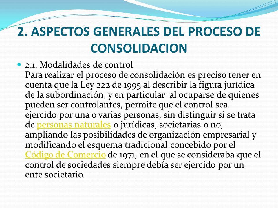 2. ASPECTOS GENERALES DEL PROCESO DE CONSOLIDACION