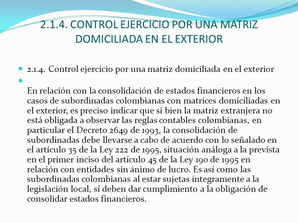 2.1.4. CONTROL EJERCICIO POR UNA MATRIZ DOMICILIADA EN EL EXTERIOR