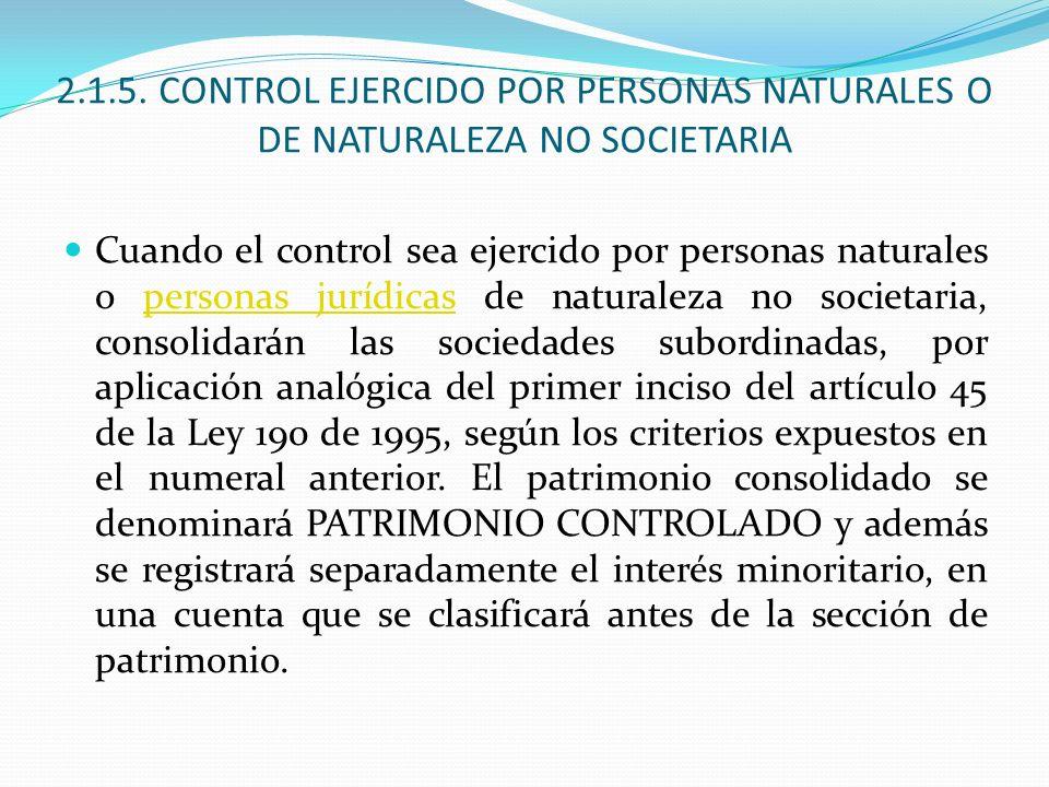 2.1.5. CONTROL EJERCIDO POR PERSONAS NATURALES O DE NATURALEZA NO SOCIETARIA