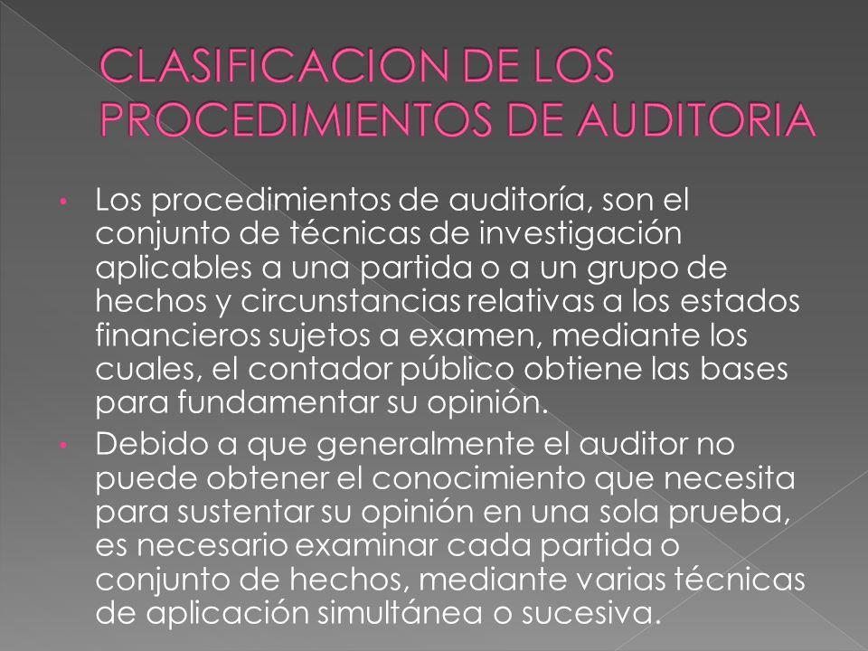 CLASIFICACION DE LOS PROCEDIMIENTOS DE AUDITORIA
