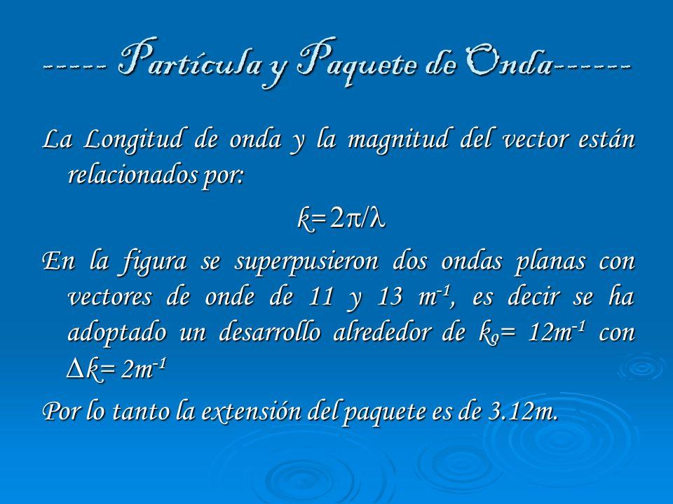 ----- Partícula y Paquete de Onda------