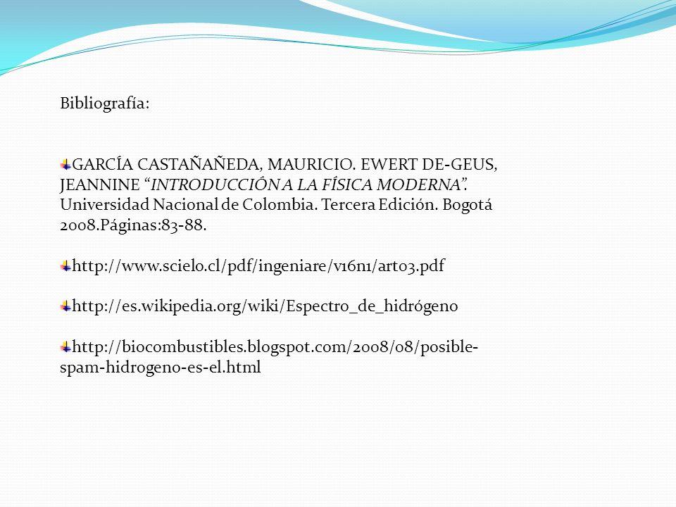 Bibliografía: García CASTAÑAÑEDA, MAURICIO. Ewert De-Geus, JEANNINE Introducción a la física moderna .