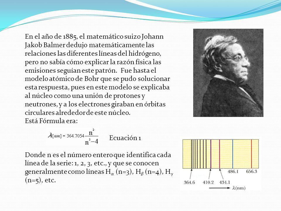 En el año de 1885, el matemático suizo Johann Jakob Balmer dedujo matemáticamente las relaciones las diferentes líneas del hidrógeno, pero no sabía cómo explicar la razón física las emisiones seguían este patrón. Fue hasta el modelo atómico de Bohr que se pudo solucionar esta respuesta, pues en este modelo se explicaba al núcleo como una unión de protones y neutrones, y a los electrones giraban en órbitas circulares alrededor de este núcleo.
