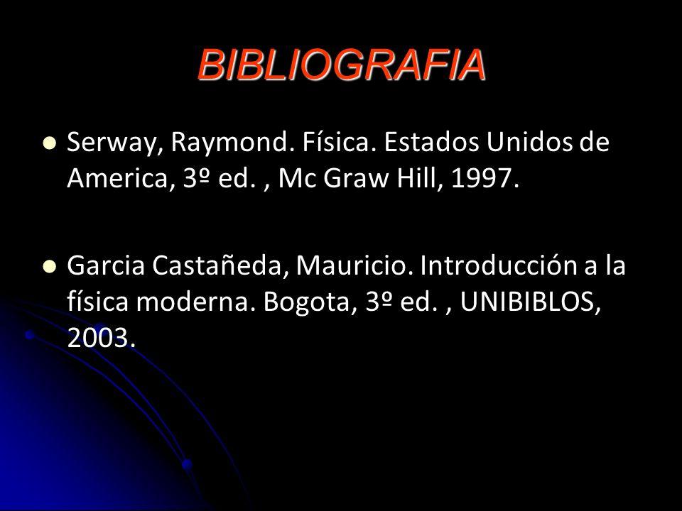 BIBLIOGRAFIA Serway, Raymond. Física. Estados Unidos de America, 3º ed. , Mc Graw Hill, 1997.