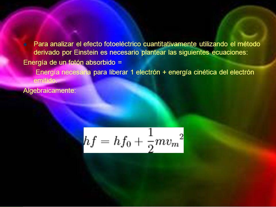 Para analizar el efecto fotoeléctrico cuantitativamente utilizando el método derivado por Einstein es necesario plantear las siguientes ecuaciones: