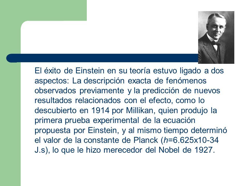 El éxito de Einstein en su teoría estuvo ligado a dos aspectos: La descripción exacta de fenómenos observados previamente y la predicción de nuevos resultados relacionados con el efecto, como lo descubierto en 1914 por Millikan, quien produjo la primera prueba experimental de la ecuación propuesta por Einstein, y al mismo tiempo determinó el valor de la constante de Planck (h=6.625x10-34 J.s), lo que le hizo merecedor del Nobel de 1927.