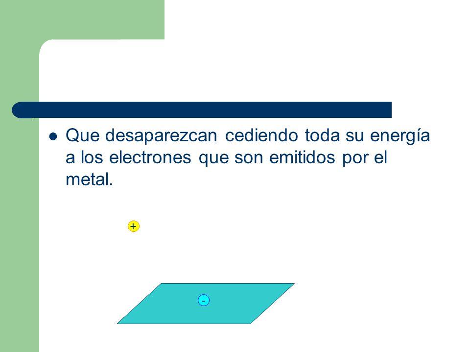 Que desaparezcan cediendo toda su energía a los electrones que son emitidos por el metal.