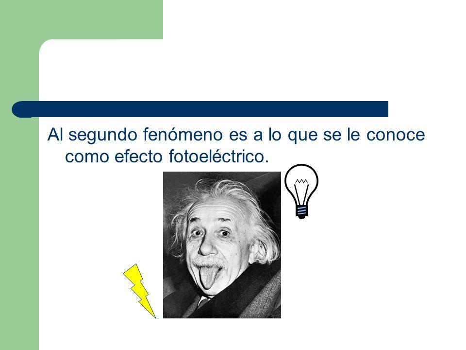 Al segundo fenómeno es a lo que se le conoce como efecto fotoeléctrico.