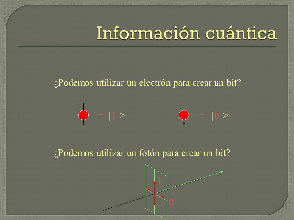 Información cuántica ¿Podemos utilizar un electrón para crear un bit