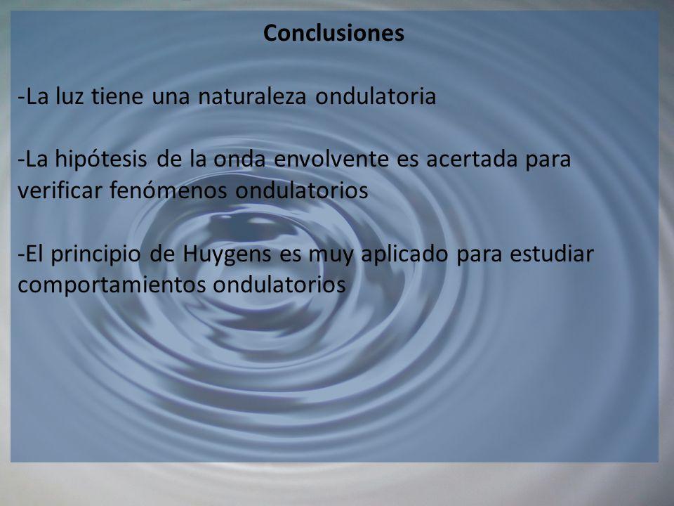 Conclusiones La luz tiene una naturaleza ondulatoria.