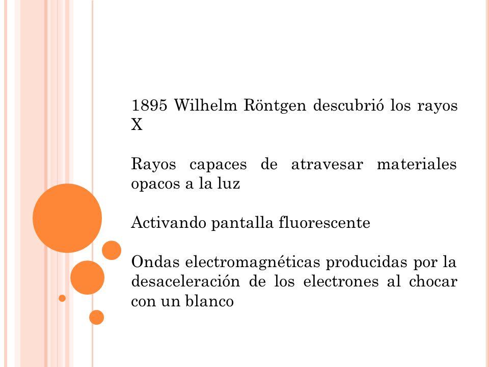 1895 Wilhelm Röntgen descubrió los rayos X