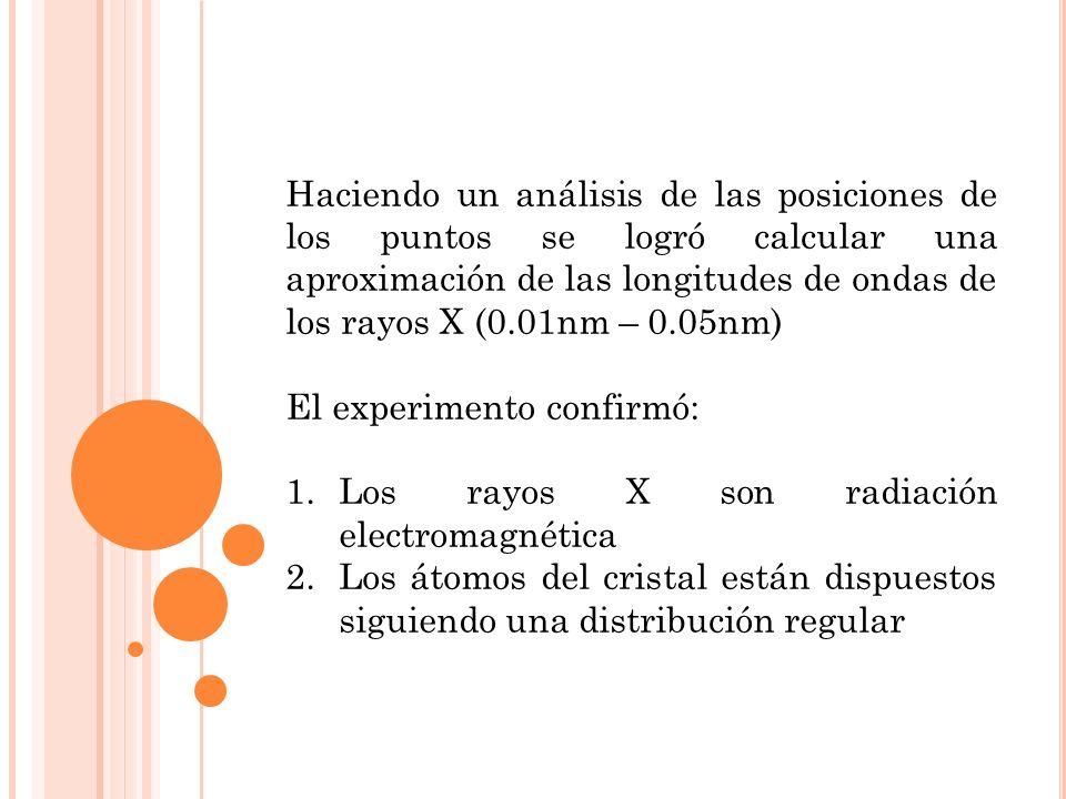 Haciendo un análisis de las posiciones de los puntos se logró calcular una aproximación de las longitudes de ondas de los rayos X (0.01nm – 0.05nm)