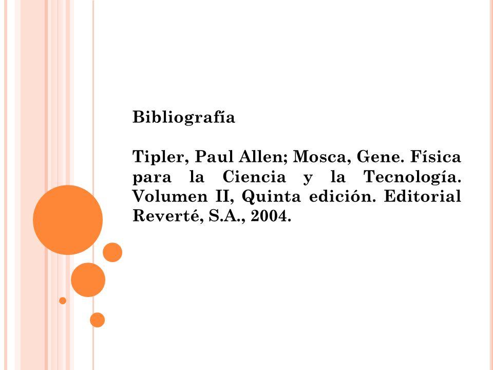 Bibliografía Tipler, Paul Allen; Mosca, Gene. Física para la Ciencia y la Tecnología.