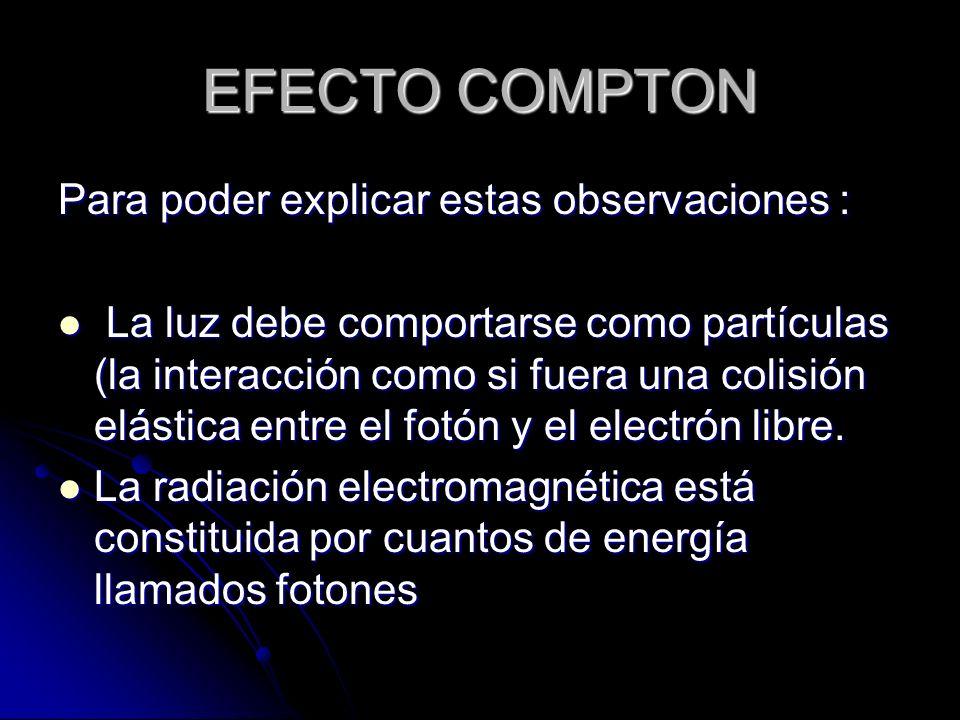 EFECTO COMPTON Para poder explicar estas observaciones :