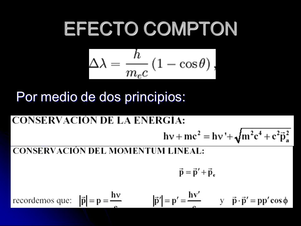 EFECTO COMPTON Por medio de dos principios: