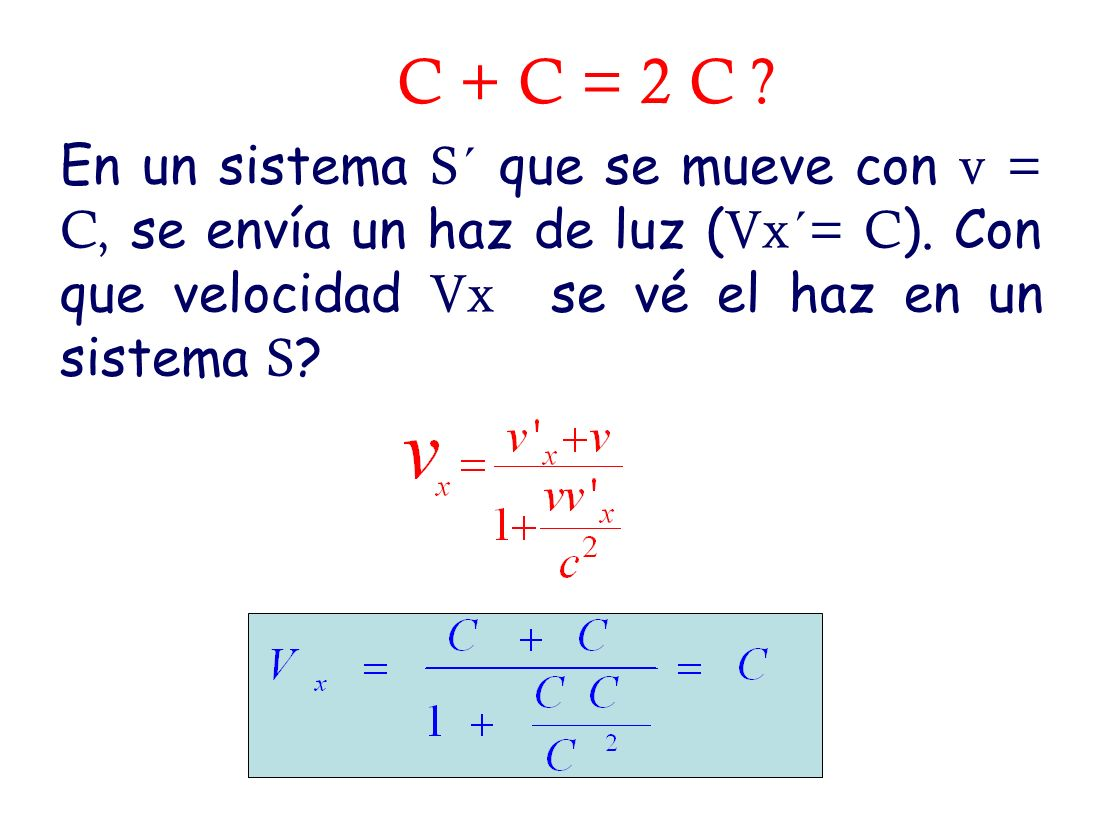 C + C = 2 C . En un sistema S´ que se mueve con v = C, se envía un haz de luz (Vx´= C).