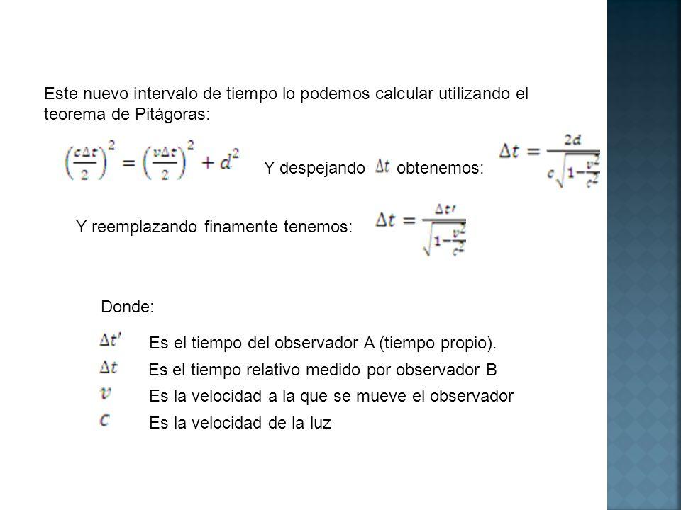 Este nuevo intervalo de tiempo lo podemos calcular utilizando el teorema de Pitágoras: