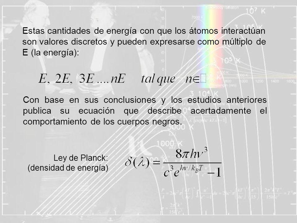Estas cantidades de energía con que los átomos interactúan son valores discretos y pueden expresarse como múltiplo de E (la energía):