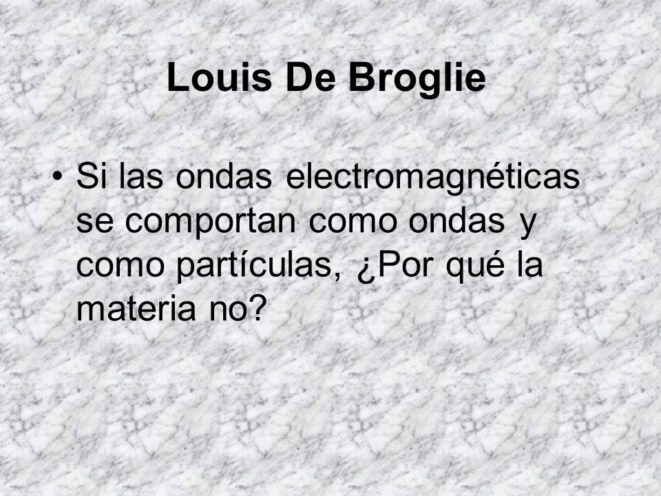 Louis De Broglie Si las ondas electromagnéticas se comportan como ondas y como partículas, ¿Por qué la materia no