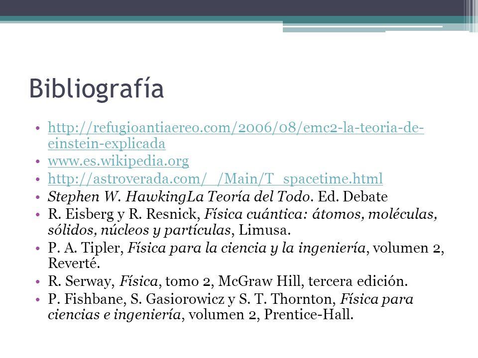 Bibliografía http://refugioantiaereo.com/2006/08/emc2-la-teoria-de- einstein-explicada. www.es.wikipedia.org.