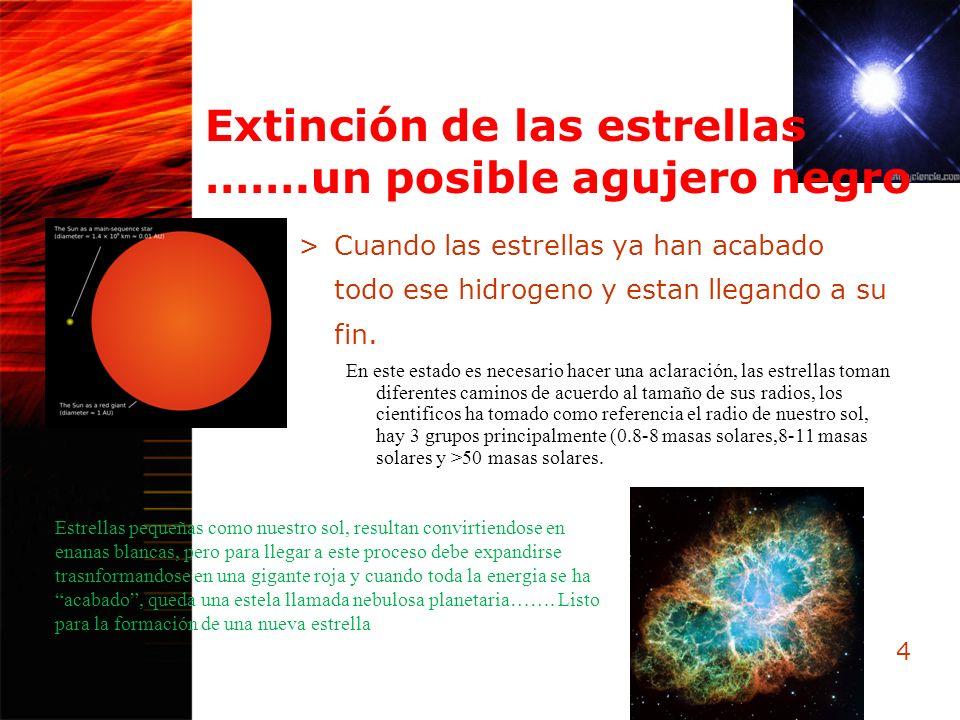 Extinción de las estrellas …….un posible agujero negro